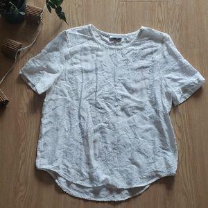 Equipment Femme sheer floral silk blouse